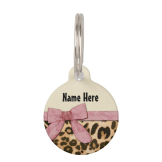 Girl Leopard Print Baby Pink Bow Pet Tag