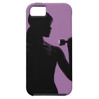 girl lifting dumbbell on purple background iPhone 5 case