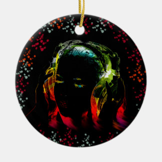 Girl Listening Music Headphones Neon Colors Gifts Ceramic Ornament