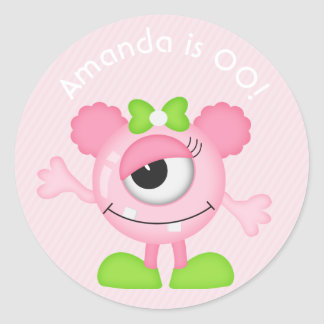 Girl Little Monster themed Birthday Party Classic Round Sticker