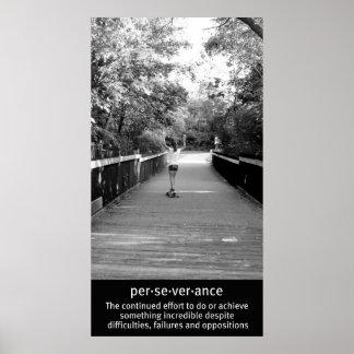 Girl Longboard Perseverance Poster