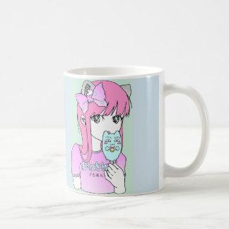"Girl Manga Kawaii cat pink ""Happy Summer"" Coffee Mug"