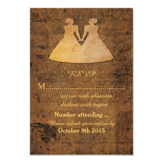 "Girl Meets Girl Love Story Lesbian Wedding RSVP 3.5"" X 5"" Invitation Card"