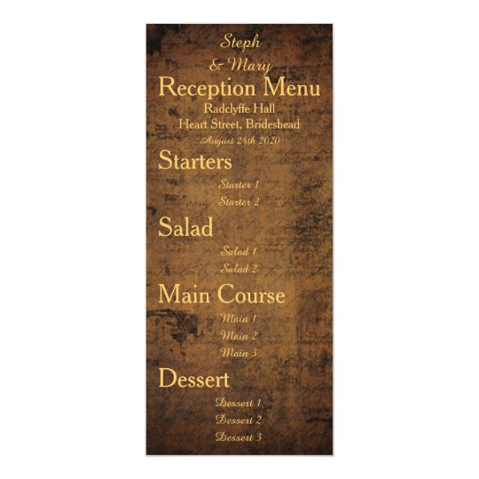 Girl Meets Girl Wedding Reception Menu Card
