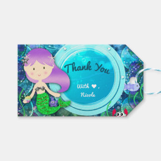 Girl Mermaid Birthday Party Under the Sea Favor Pack Of Gift Tags