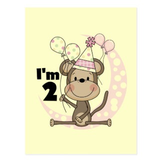 Girl Monkey in Party Hat 2nd Birthday Postcard
