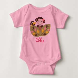 Girl Monkey Jungle Baby Creeper T-Shirt