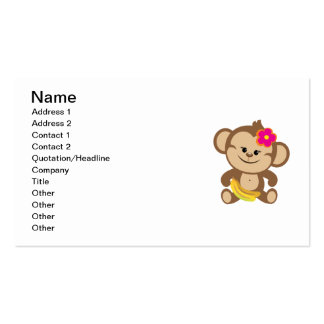 Girl Monkey With Banana Pack Of Standard Business Cards