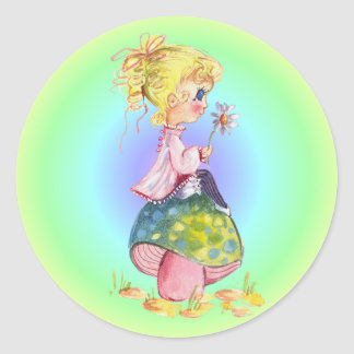 GIRL & MUSHROOM by SHARON SHARPE Classic Round Sticker