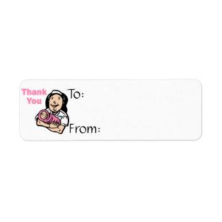 girl nurse thank you return address label