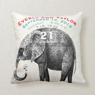 Girl Nursery Baby Birth Stat Elephant Arrows Throw Pillow