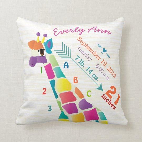 Girl Nursery Baby Birth Stat Giraffe Arrow Pattern Throw Pillow