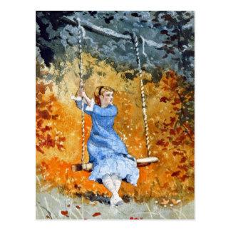 Girl on a Swing by Winslow Homer Postcard