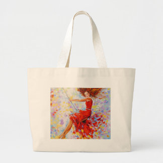 Girl on a swing large tote bag