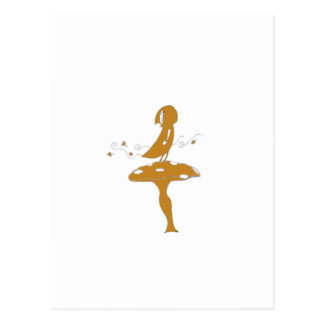 Girl on a toadstool postcard