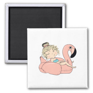 Girl On An Inflatable Flamingo Magnet