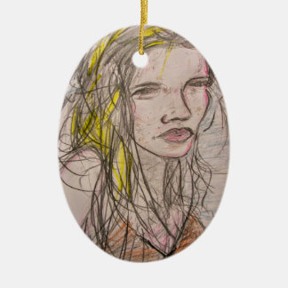 Girl on Beach Ceramic Ornament