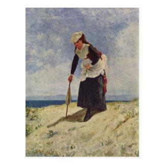 Girl on beach - Giuseppe de Nittis Postcard