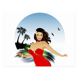 Girl on beach in red bathing suit postcard