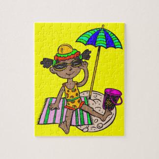 Girl On Beach Jigsaw Puzzle