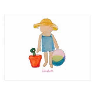 Girl on Beach - Sunhat Ball & Bucket to Customize Postcard