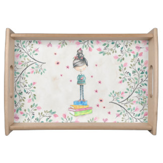 Girl on Books tray