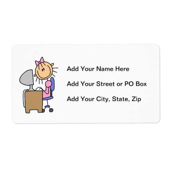 Girl on Computer Shipping Label