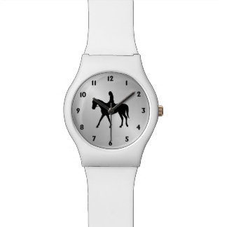 Girl on Horse Silver Black Numbers Wrist Watch