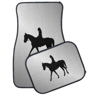 Girl on Horse Silver Car Mat