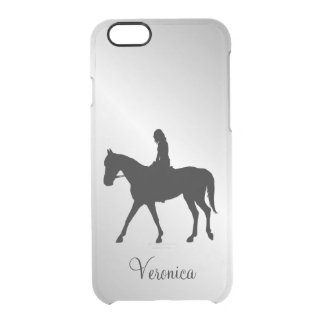 Girl on Horse Silver Clear iPhone 6/6S Case
