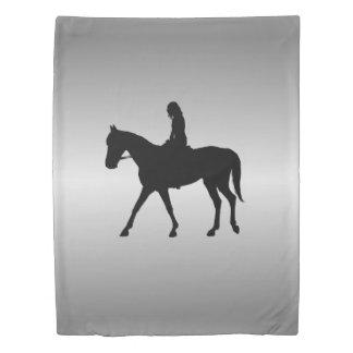 Girl on Horse Silver Duvet Cover