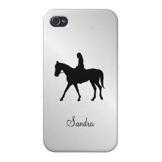 Girl on Horse Silver iPhone 4 Case