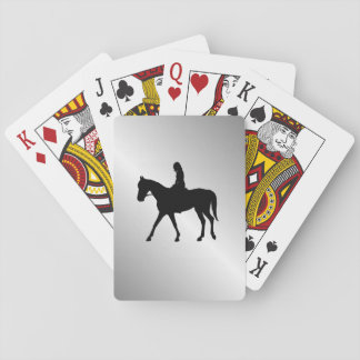 Girl on Horse Silver Playing Cards