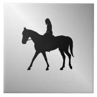 Girl on Horse Silver Tile
