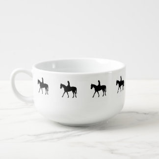 Girl on Horse Soup Bowl With Handle