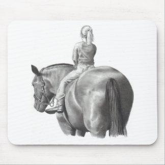 GIRL ON HORSEBACK: PENCIL ART: REALISM MOUSE PAD