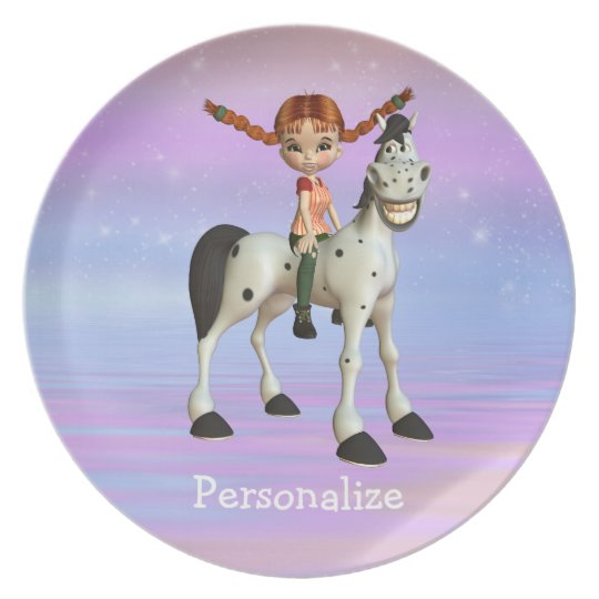 Girl on Pony Magical Fantasy Personalized Plate
