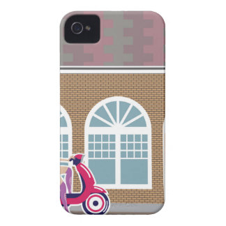 Girl on Scooter stopped by the building iPhone 4 Case-Mate Case