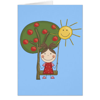 Girl on Swing  T-shirts and Gifts Card