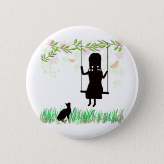 Girl on Swing with Cat 2 Inch Round Button