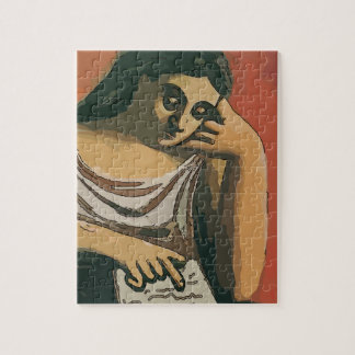 Girl on Tablet 2 Jigsaw Puzzle
