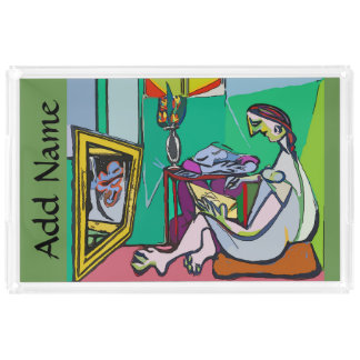 Girl on Tablet 3, add names Acrylic Tray