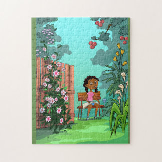 Girl on the Bench design jigsaw puzzle