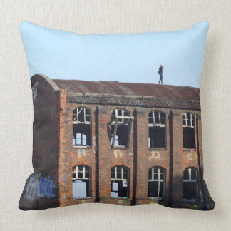 Girl on the Roof 01.0, Lost Places Throw Pillow