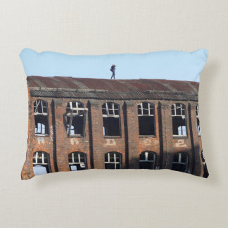 Girl on the Roof - Lost Places Accent Pillow