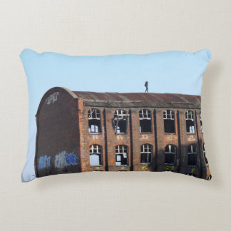 Girl on the Roof - Lost Places Decorative Pillow