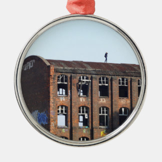 Girl on the Roof - Lost Places Metal Ornament