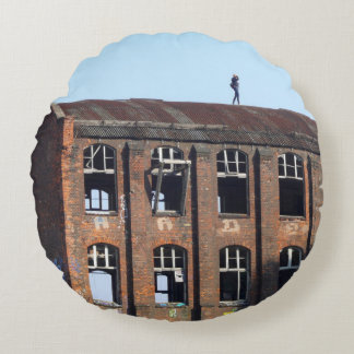 Girl on the Roof - Lost Places Round Pillow