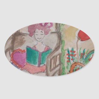 girl on the swing reading book oval sticker