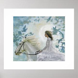 girl on white horse poster
